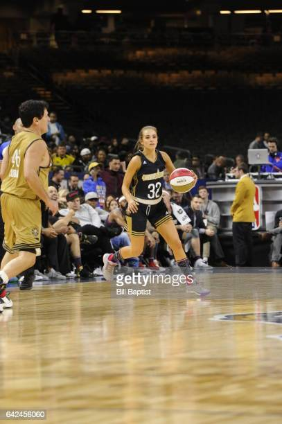 Rachel DeMita of the East Team drives the ball against the West Team during the NBA AllStar Celebrity Game as a part of 2017 AllStar Weekend at the...