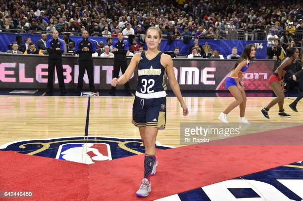 Rachel DeMita of the East Team is announced before the NBA AllStar Celebrity Game as a part of 2017 AllStar Weekend at the MercedesBenz Superdome on...