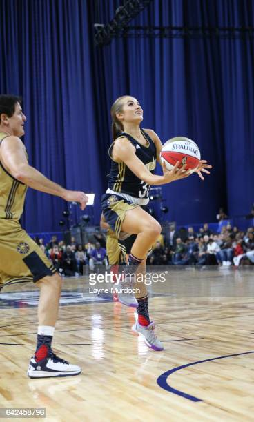 Rachel DeMita of the East team shoots during the 2017 NBA AllStar Celebrity Game as part of 2017 AllStar Weekend at the MercedesBenz Super Dome on...