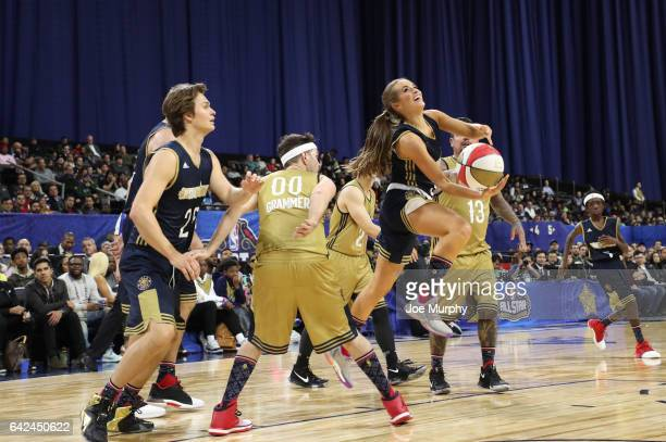 Rachel DeMita of the East Team shoots during the NBA AllStar Celebrity Game as a part of 2017 AllStar Weekend at the MercedesBenz Superdome on...