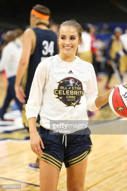 Rachel DeMita of the East Team warms up during the NBA AllStar Celebrity Game as a part of 2017 AllStar Weekend at the MercedesBenz Superdome on...