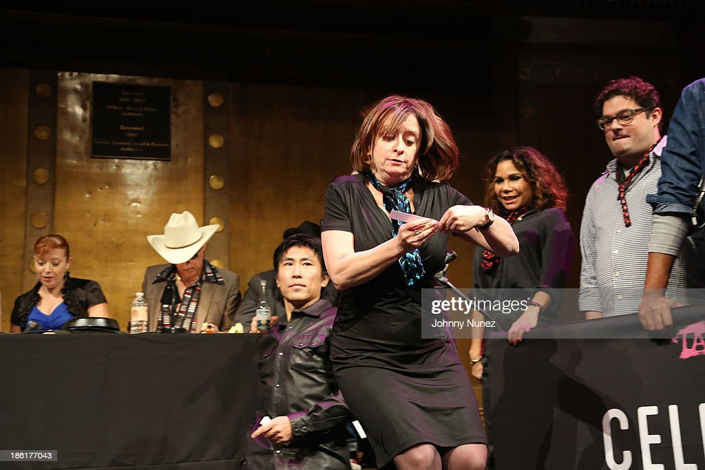 <a gi-track='captionPersonalityLinkClicked' href=/galleries/search?phrase=Rachel+Dratch&family=editorial&specificpeople=209387 ng-click='$event.stopPropagation()'>Rachel Dratch</a> (C) attends the LAByrinth Theater Company Celebrity Charades 2013 benefit gala at Capitale on October 28, 2013 in New York City.