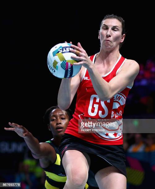Rachel Dunn of England gathers the ball during the Fast5 World Series Netball match between Jamaica and England at Hisense Arena on October 29 2017...