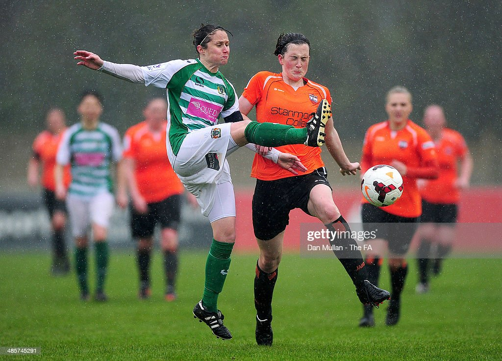 Rachel Edwards of Yeovil battles for the ball with Sydney Hinchcliffe of London Bees during the FA SWL 2 match between Yeovil Town Ladies and London...