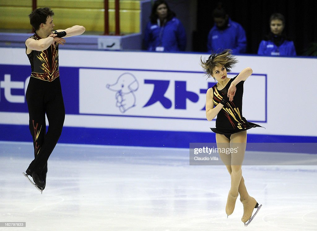 Rachel Epstein and Dmitry Epstein of Netherlands skate in the Pairs Short Program during day 3 of the ISU World Junior Figure Skating Championships at Agora Arena on February 27, 2013 in Milan, Italy.