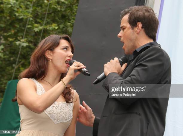 Rachel EskenaziGold and Jeremy Stolle from the cast of Phantom of the Opera perform at 1067 Lite FM's Broadway In Bryant Park on July 6 2017 in New...