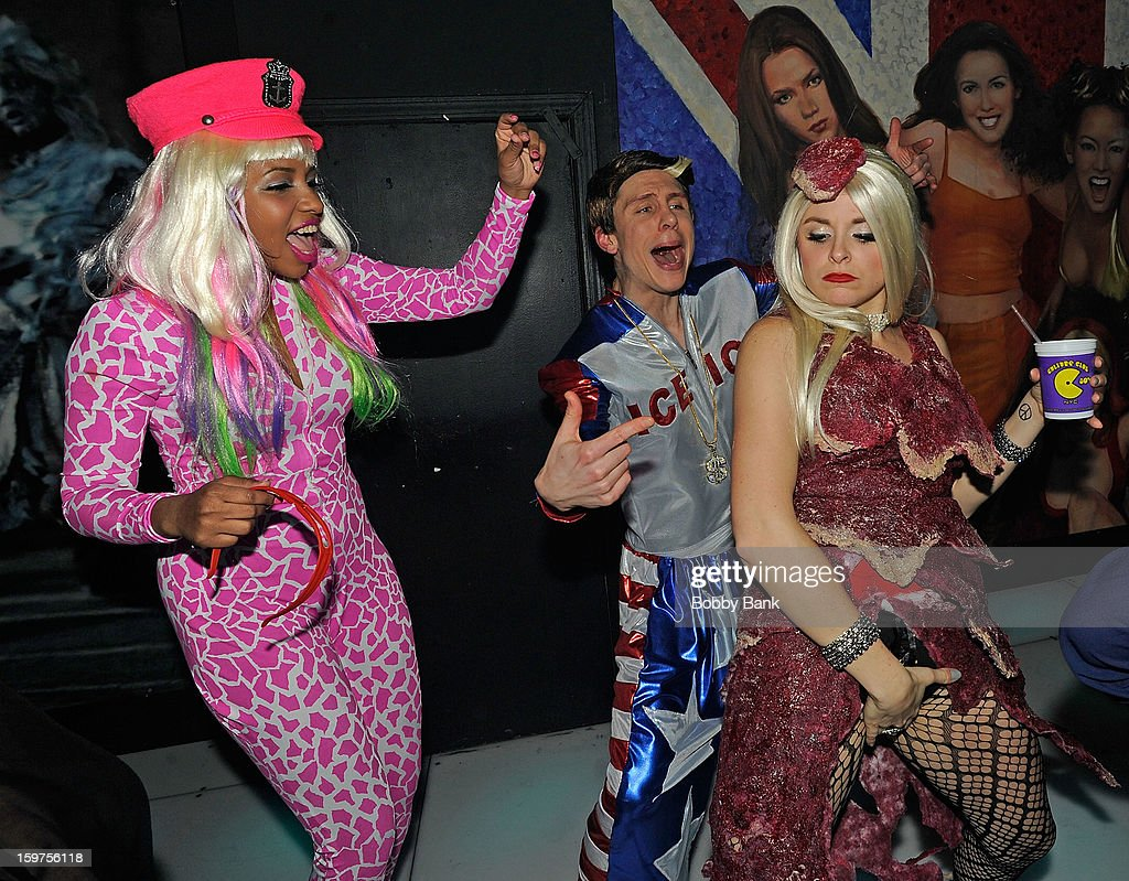 Rachel Ford as 'Nicki Minaj', Ann-Marie Sepe as 'Lady Gaga' and Joey Johnson as 'Vanilla Ice' attends Totally Tubular Time Machine at Culture Club on January 19, 2013 in New York City.