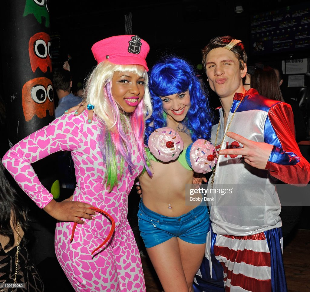 Rachel Ford as 'Nicki Minaj', Bevin Bru as 'Katy Perry' and Joey Johnson as 'Vanilla Ice' attends Totally Tubular Time Machine at Culture Club on January 19, 2013 in New York City.