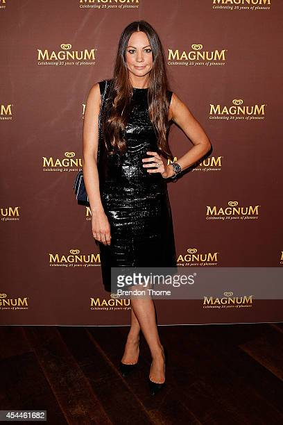 Rachel Gilbert walks the red carpet at the Magnum 25th Anniversary Celebration at Catalina Rose Bay on September 1 2014 in Sydney Australia
