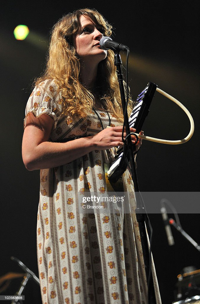 Rachel Goswell of Mojave 3 performs on stage at O2 Arena on June 30, 2010 in London, England.