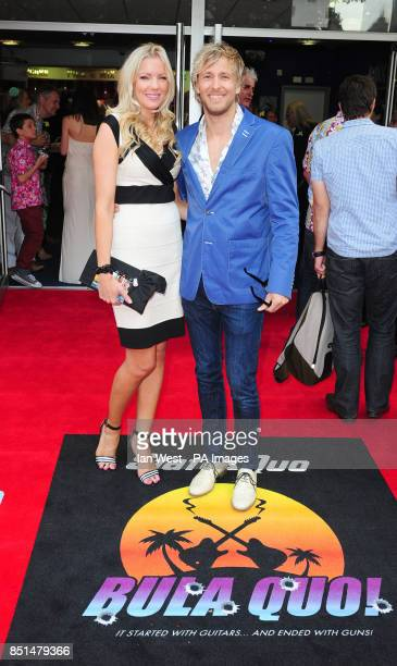Rachel Gretton and Rick Parfitt Jnr arrive at the premiere of new film Bula Quo at the Odeon West End cinema in London