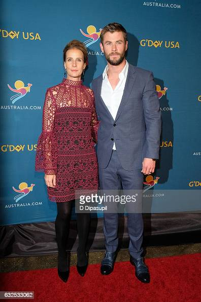 Rachel Griffiths and Chris Hemsworth attend A Virtual Tour of Australia at Hudson Mercantile on January 23 2017 in New York City