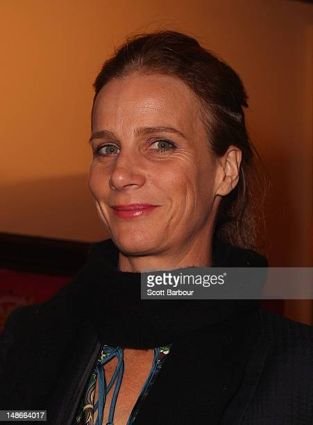 Rachel Griffiths arrives at the opening night of Barry Humphries' Eat Pray Laugh show show at Her Majestys Theatre on July 19 2012 in Melbourne...