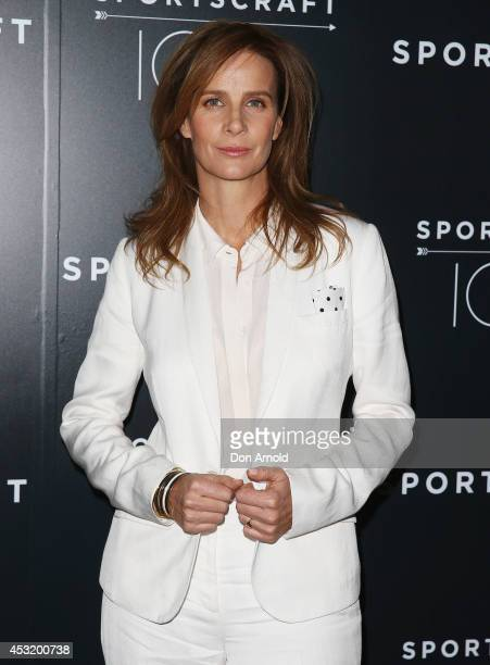 Rachel Griffiths poses at Sportscraft 100 years of Australian lifestyle campaign at Cafe Sydney on August 5 2014 in Sydney Australia
