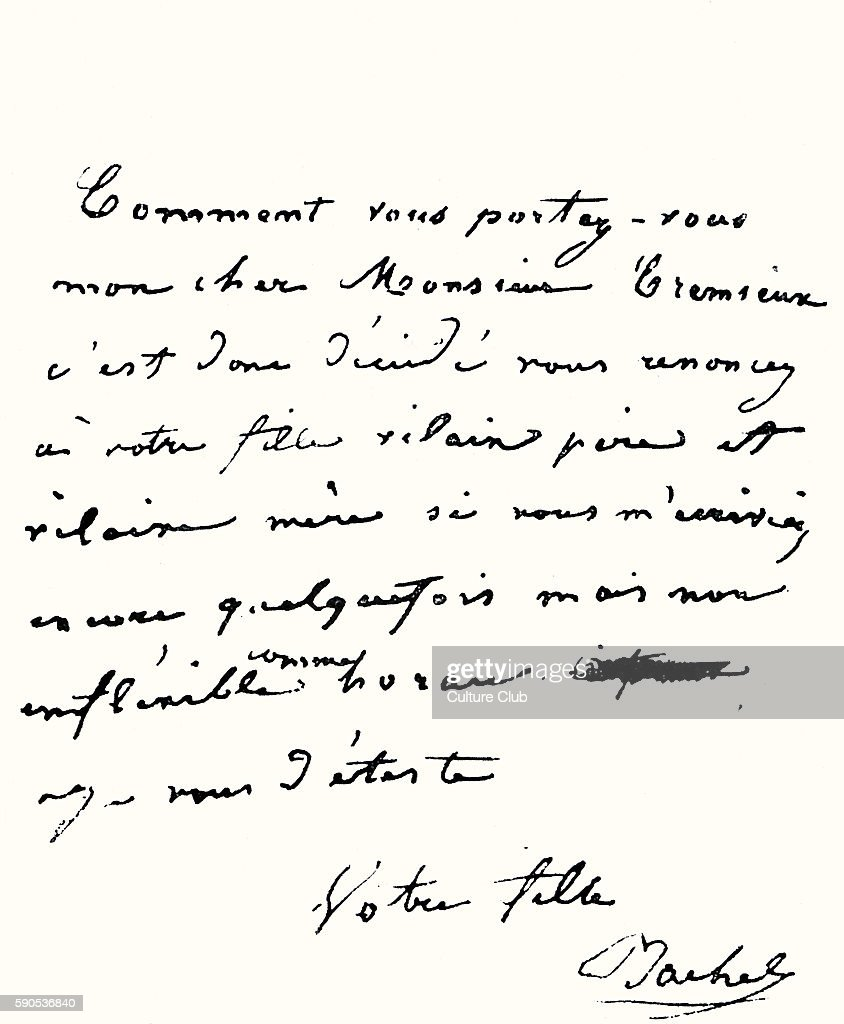Rachel (elisabeth Rachel F�lix) Handwritten Letter To M Cr�mieux About Her  Refusal To