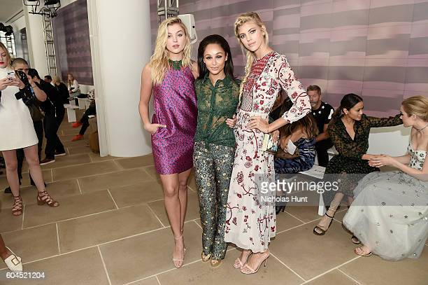 Rachel Hilbert Carla Santana and Devon Windsor attend the Monique Lhuillier fashion show during New York Fashion Week September 2016 at The IAC...