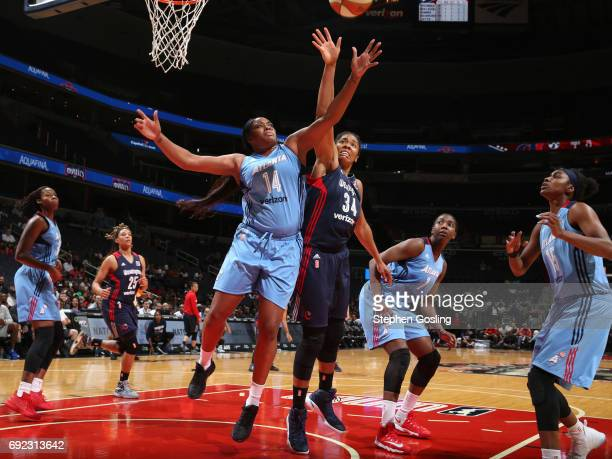 Rachel Hollivay of the Atlanta Dream grabs the rebound against Krystal Thomas of the Washington Mystics on June 4 2017 at Verizon Center in...