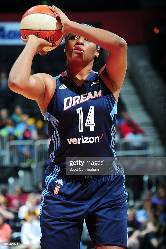 Rachel Hollivay #14 of the Atlanta Dream shoots a free throw against the Indiana Fever on May 29, 2016 at Philips Arena in Atlanta, Georgia.