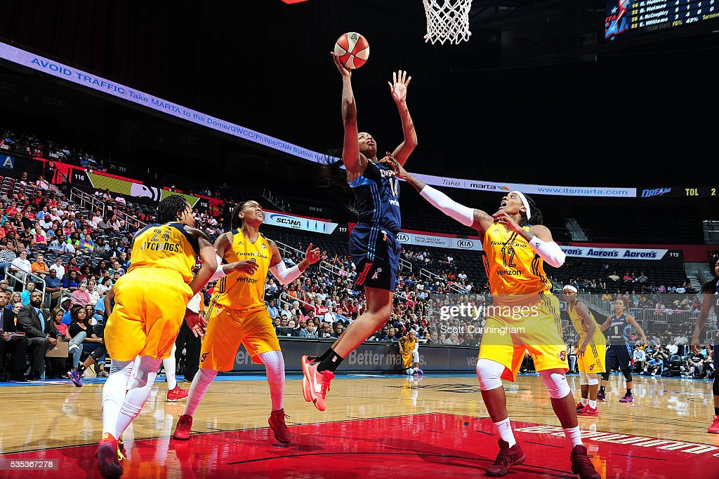 Rachel Hollivay #14 of the Atlanta Dream shoots the ball against the Indiana Fever on May 29, 2016 at Philips Arena in Atlanta, Georgia.