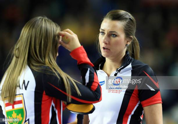 Rachel Homan and Emma Miskew of Ontario talk prior to their draw one match against Canada during the 2017 Scotties Tournament of Hearts at the...