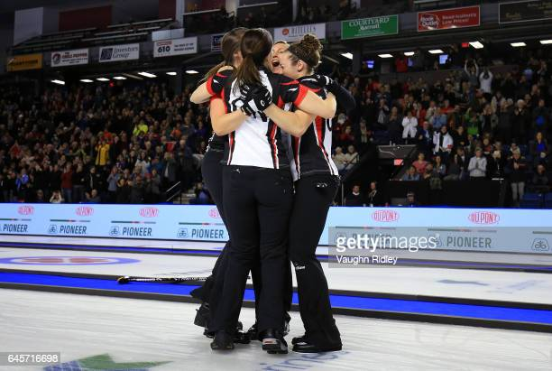 Rachel Homan Lisa Weagle Joanne Courtney and Emma Miskew of Ontario celebrate victory in the Gold Medal match against Manitoba during the 2017...