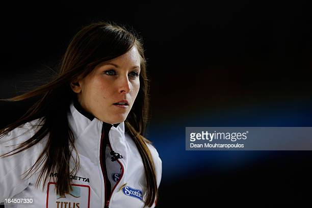 Rachel Homan of Canada looks on in the Bronze medal match between USA and Canada on Day 9 of the Titlis Glacier Mountain World Women's Curling...