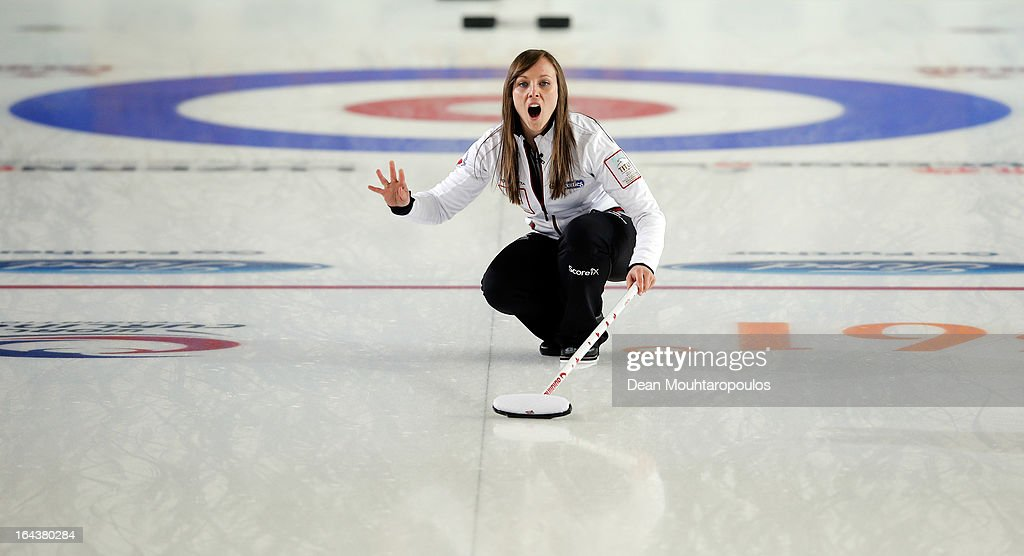Rachel Homan of Canada screams instructions to team mates during the Semi Final match between Scotland and Canada on Day 8 of the Titlis Glacier Mountain World Women's Curling Championship at the Volvo Sports Centre on March 23, 2013 in Riga, Latvia.