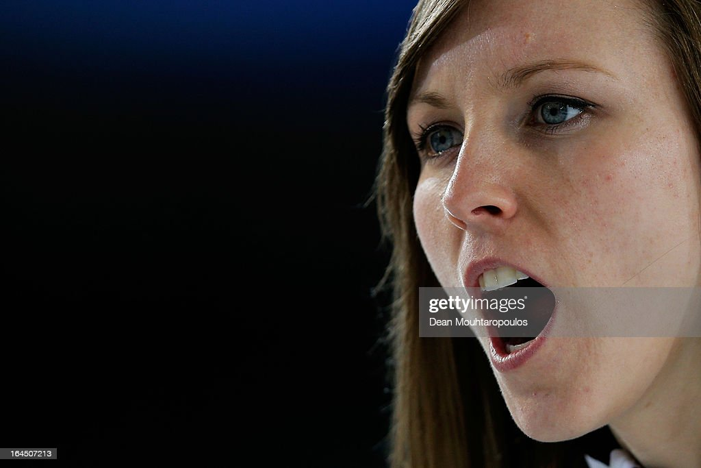 Rachel Homan of Canada screams instructions to team mates in the Bronze medal match between USA and Canada on Day 9 of the Titlis Glacier Mountain World Women's Curling Championship at the Volvo Sports Centre on March 24, 2013 in Riga, Latvia.