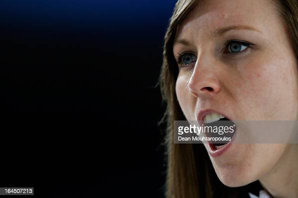 Rachel Homan of Canada screams instructions to team mates in the Bronze medal match between USA and Canada on Day 9 of the Titlis Glacier Mountain...