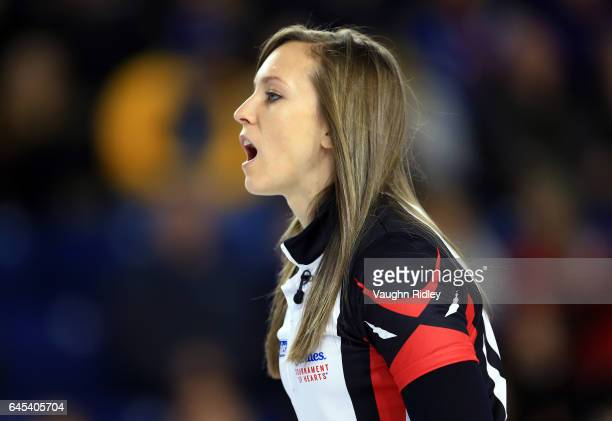 Rachel Homan of Ontario calls to her teammates after her shot in a semi final match against Northern Ontario during the 2017 Scotties Tournament of...