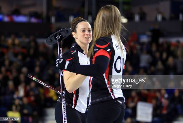 Rachel Homan of Ontario celebrates a shot with Joanne Courtney in the Gold Medal match against Manitoba during the 2017 Scotties Tournament of Hearts...