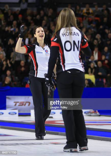 Rachel Homan of Ontario celebrates a shot with Lisa Weagle in the Gold Medal match against Manitoba during the 2017 Scotties Tournament of Hearts at...