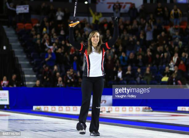 Rachel Homan of Ontario celebrates victory in the Gold Medal match against Manitoba during the 2017 Scotties Tournament of Hearts at the Meridian...