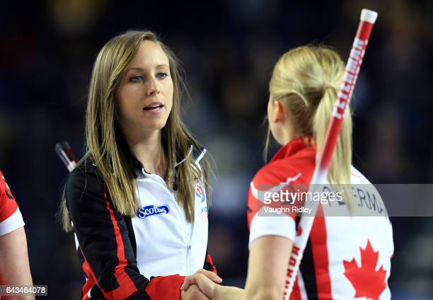 Rachel Homan of Ontario celebrates victory over Canada in a draw one match during the 2017 Scotties Tournament of Hearts at the Meridian Centre on...