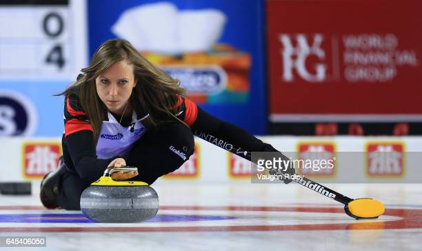 Rachel Homan of Ontario delivers a stone in a semi final match against Northern Ontario during the 2017 Scotties Tournament of Hearts at the Meridian...
