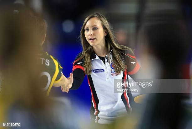 Rachel Homan of Ontario is congratulated by Sarah Potts of Northern Ontario following a semi final match during the 2017 Scotties Tournament of...