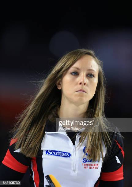 Rachel Homan of Ontario looks on in a semi final match against Northern Ontario during the 2017 Scotties Tournament of Hearts at the Meridian Centre...