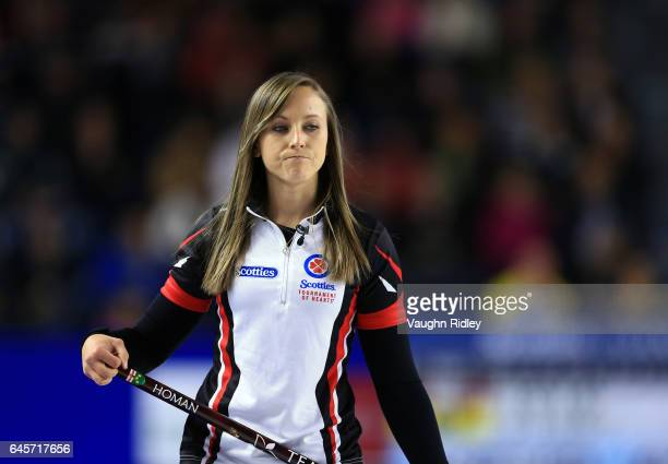 Rachel Homan of Ontario reacts after a shot in the Gold Medal match against Manitoba during the 2017 Scotties Tournament of Hearts at the Meridian...