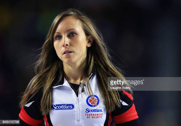 Rachel Homan of Ontario reacts to a shot by Northern Ontario in a semi final match during the 2017 Scotties Tournament of Hearts at the Meridian...