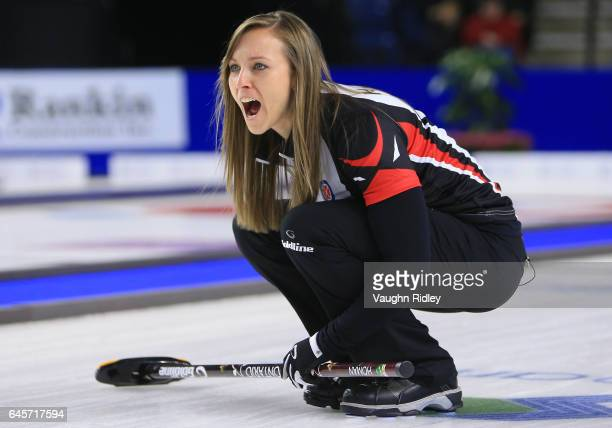 Rachel Homan of Ontario shouts to teammates in the Gold Medal match against Manitoba during the 2017 Scotties Tournament of Hearts at the Meridian...