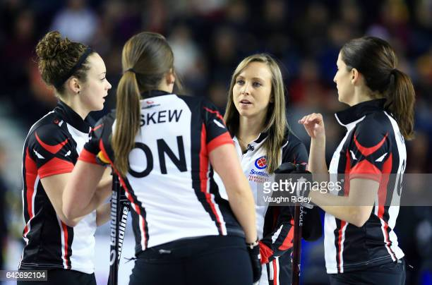 Rachel Homan of Ontario speaks with her teammates in a draw one match against Canada during the 2017 Scotties Tournament of Hearts at the Meridian...