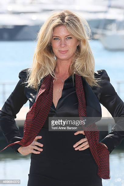 Rachel Hunter attends Rachel's Tour Of Beauty photocall as part of MIPTV 2015 on April 14 2015 in Cannes France