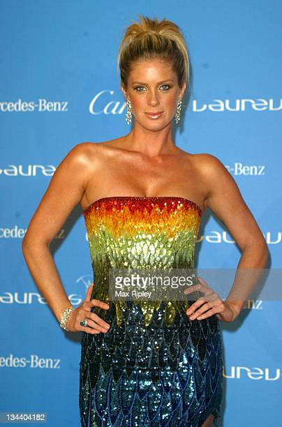 Rachel Hunter during 2004 Laureus World Sports Awards Press Room at Centro Cultural De Belem in Estoril Portugal