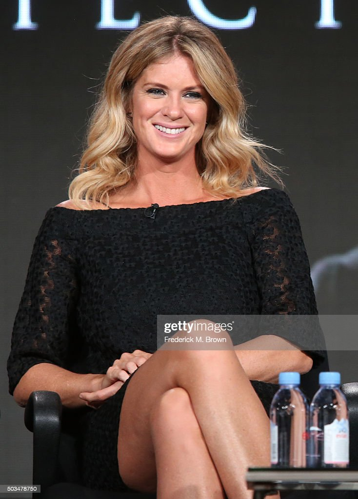 Rachel Hunter looks on during Ovation's 'The Artful Detective'' panel as part of This is Cable 2016 TCA Press Tour at Langham Hotel on January 5, 2016 in Pasadena, California.