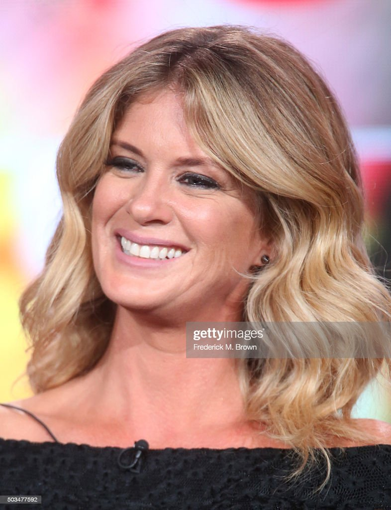 Rachel Hunter speaks during Ovation's 'Rachel Hunter's Tour of Beauty' panel as part of This is Cable 2016 TCA Press Tour at Langham Hotel on January 5, 2016 in Pasadena, California.