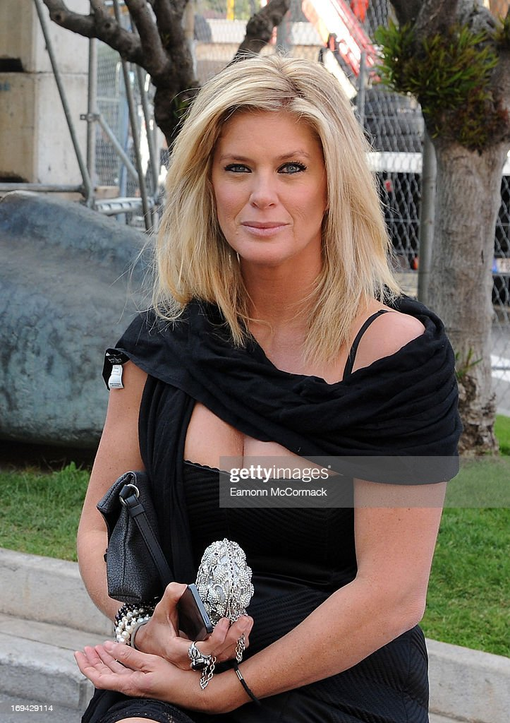 Rachel Hunter waiting for her car at Circuit de Monaco on May 24, 2013 in Monte-Carlo, Monaco.