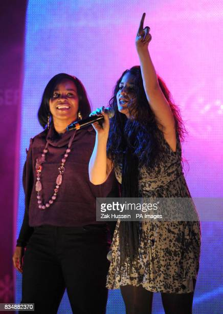 Rachel Hylton and Ruth Lorenzo from X Factor perform prior to Sugababes switching on the Oxford Street Christmas Lights outside House of Fraser...