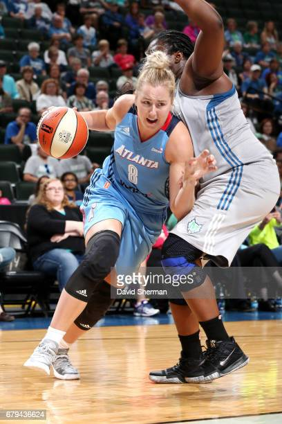 Rachel Jarry of the Atlanta Dream drives to the basket during the game against the Minnesota Lynx during the preseason WNBA game on May 5 2017 at...