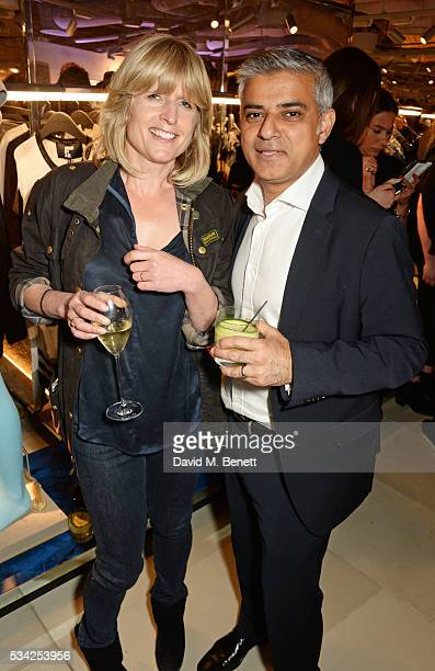 Rachel Johnson and Mayor of London Sadiq Khan attend the London Evening Standard Londoner's Diary 100th Birthday Party in partnership with Harvey...