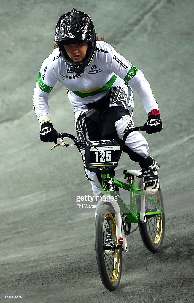 Rachel Jones of Australia competes in the Junior Women Time Trial during day four of the UCI BMX World Championships at Vector Arena on July 27, 2013 in Auckland, New Zealand.